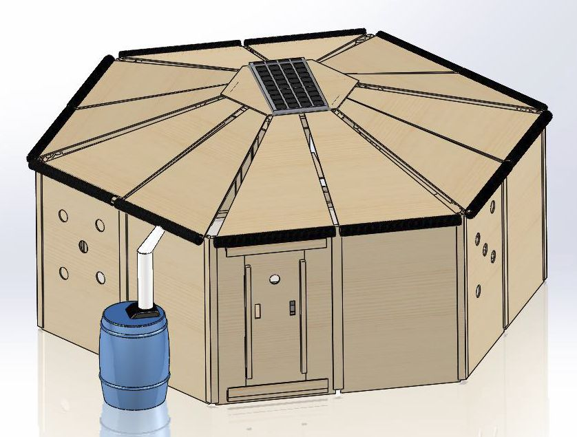 Assembled HOME Shelter with rain recovery barrel